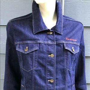 Patagonia Women Denim Jacket Sz XL Blue Stretch